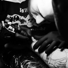 Did a few of these shots, the joys of watching a tattoo and not getting one yourself! #tattoo #Germany #Berlin #black and #white #pain #worth #it #art