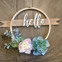 10in Custom Wreath - Succulent Wreath with Family Name or Custom Greeting - Personalized Gift - Hoop Wreath - Farmhouse Decor - Rustic Decor
