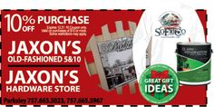 Visit both Jaxon's locations in Parksley, VA to help cross off some of those Christmas items on your list! Bring your Frugals coupon and save 10% off your purchase! Print it out at www.frugals.biz
