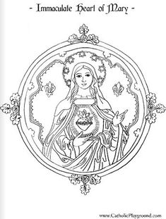 Immaculate Heart of Mary Catholic coloring page - Beautiful! Colouring Pages, Adult Coloring Pages, Coloring Sheets, Coloring Books, Mandala Coloring, Catholic Crafts, Catholic Kids, Catholic Saints, Religious Education