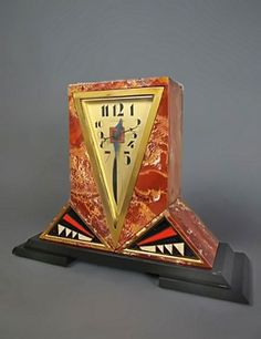 Rosso marble and enamel Art Deco clock