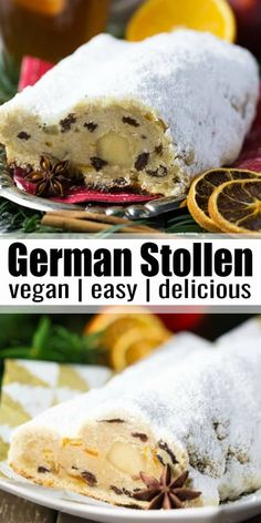 This German stollen with dried fruits, almonds, and marzipan is so delicious! It's made with Christmas spices and it's just the perfect treat for the holiday season. My stollen recipe is of course vegan. No butter, milk, or eggs required. Healthy Holiday Recipes, Healthy Dessert Recipes, Raw Food Recipes, Appetizer Recipes, Vegan Food, Stollen Bread, German Stollen, Dessert Weihnachten Vegan, Christmas Stollen Recipe