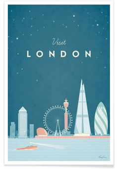 Vintage style travel poster of London. An original illustration for Travel Poste. - Vintage style travel poster of London. An original illustration for Travel Poster Co. by Henry Rive - Vintage London, Framed Art Prints, Poster Prints, Framed Artwork, London Poster, London Map, London Blue, Plakat Design, Illustrator