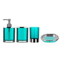 all home cristallo 4 piece bathroom accessory set reviews wayfair uk - Teal Bathroom Accessories Uk