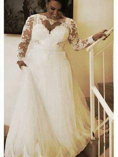 09a1700e875 A-line Sheer Floor Length Tulle Plus Size Wedding Dress