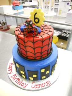 Spiderman Themed Birthday Cake! #birthdaycake