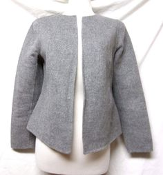 TALBOTS Gray Heathered FELT JACKET/BLAZER wool/nylon Open/Collarless/Unlined S #Talbots #Blazer