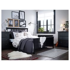 Check out HEMNES Bed frame, black-brown, King. Sustainable beauty from sustainably-sourced solid wood, a durable and renewable material that maintains its genuine character with each passing year. Combines with the other furniture in the HEMNES series. Ikea Bedroom Furniture, Bedroom Decor, Bedroom Ideas, Furniture Ideas, Ikea Bedroom Design, Modern Furniture, Bedroom Themes, White Bedroom Black Furniture, Furniture 123