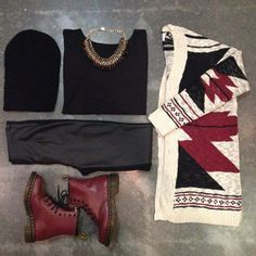 Loving the cardigan and oxblood boots!