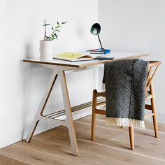 Obsessed with stylish home office spaces? Then you'll probably also be on the wooden desk train. White Desks, Furniture, Multifunctional Furniture, Home, Interior, Desks For Small Spaces, Furniture Design Modern, Desk, Affordable Furniture