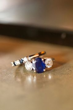Platinum Blue Sapphire Engagement Ring 3 Stone Vintage Blue Sapphire Ring with…