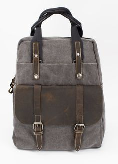 Vintage style Heritage Leather Canvas Backpack by Bristlegrass