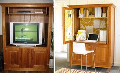 The addition of a pull-out shelf and some graphic wallpaper turned this drab armoire into a compact home office. Description from mumsgrapevine.com.au. I searched for this on bing.com/images