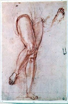 Pontormo - Study of a pair of legs and two feet for a figure of St. Michael (red chalk with pen ink)