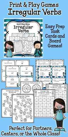 These games are easy to teach, fun to play, and give partners, small groups, or you whole class LOTS of practice with irregular past tense verbs. Easy prep for you, maximum engagement for your students!