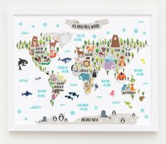 Kids room world map nursery wall decor baby room by myvisualart nursery printable animal world map kids world map poster nursery world map baby room map kids map art animal nursery decor unique baby gift gumiabroncs Images