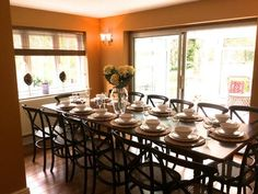 The Dining room, with has an expanding dining room table and 16 chairs.