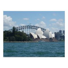 Poster of the Sydney harbour featuring the Sydney Opera House in front of the Sydney Harbour Bridge on a glorious sunny Sydney day. #sydney