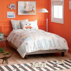 DwellStudio Kids Bedding Skyline Light Blue Duvet Cover Set..such  a cute boys room!