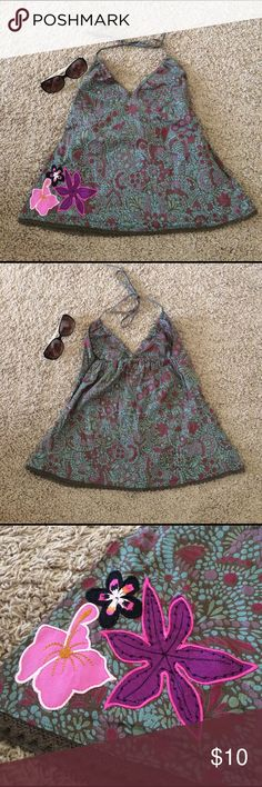 "Batik Cotton Halter Top - NWOT - Sz S Junior Cute little tropical floral cotton halter top. Junior size S. New without tag. Maximum below bust circumference 32"". Dice Basic  Tops Tank Tops"