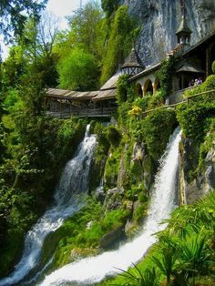 Talk about feeling like you're in a fairytale setting! Waterfall Walkway, St. Beatus Caves, Switzerland