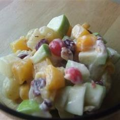 Fabulous Fruit Salad Recipe  I think I'll try this for Thanksgiving this year. A little lighter version of a Waldorf Salad using yogurt instead of mayonnaise.