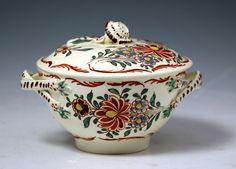 English Creamware Pottery | Antique English creamware pottery sucrete with cover. 18th century ...