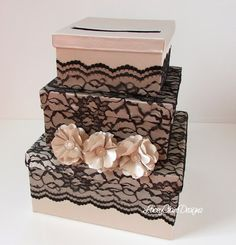New Design! Wedding Card Box with Satin Lace and by LaceyClaireDesigns on Etsy, $144.00