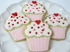 Cupcake Sugar Cookies with pink and red heart decorations- adorable!