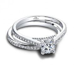 "Jeff Cooper ""Thalia"" wedding set with beading detail under center stone of engagement ring. Styles 1504/RDLW & 1504/BLW"