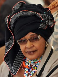 Winnie Madikizela-Mandela, former wife of Former South African President Nelson Mandela dressed in Xhosa tribe attire.