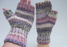 Ladies fingerless mittens pink purple mix yarn by madmumknits, £11.00