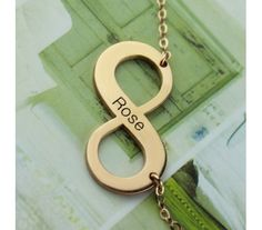 Infinity Engraved Name Necklace In Rose Gold plated