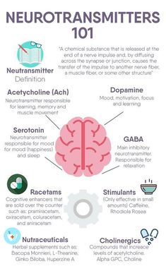 Neurotransmitters 101 - Image Credits: Premier Health And Wellness Group Brain Anatomy, Anatomy And Physiology, Nursing School Notes, Medical School, Brain Facts, Brain Science, Computer Science, Life Science, Psychology Facts