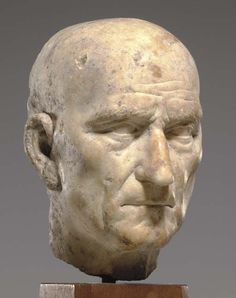 (c. 75-100 CE) Marble Portrait Bust of an Elderly Roman Man:
