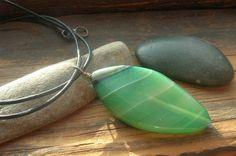Grass green natural stone pendant on black greek by kmaylward