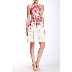 Adrianna Papell Cutaway Shoulder Printed Released Tuck Dress ($70) ❤ liked on Polyvore featuring dresses, pinkmulti, sleeveless dress, adrianna papell dresses, adrianna papell, no sleeve dress and white sleeveless dress