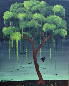 Green Weeping Tree Original Oil and Mixed Media by ArtByKatieK, $79.00