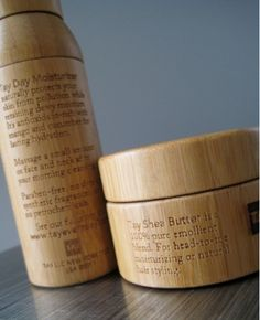 Wooden jars emphasize the natural and organic qualities of the product .