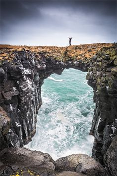 Natural bridge at the Anastarpi coastline, Iceland.