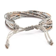 Grey Mix Multi Strand Bracelet on Silver Cord - Chan Luu