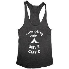Camping Hair Don't Care Women's Tri-Blend Racerback Tank