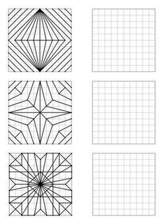 Here is a file of 30 geometric figures of increasing difficulty to repro - Holly's Education Archive Graph Paper Drawings, Graph Paper Art, Middle School Art, Art School, Art Worksheets, Math Art, Zentangle Patterns, Op Art, Geometric Art