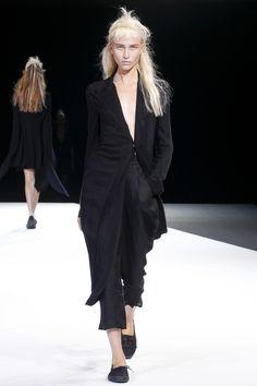 AiB:  deep v cut away jacket, calf- length trousers, plimsolls,  Yohji Yamamoto, Spring 2013, RTW