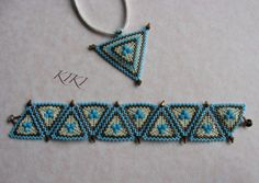 KIKI beads: a kaleidoscope of turquoise peyote kit - bronze bracelet and pendant