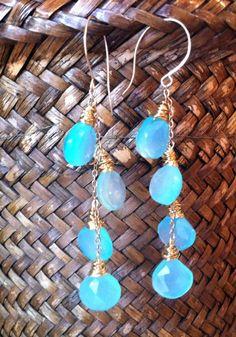Chalcedony & Gold Earrings Blue Gemstones handmade by GoldandGrace, $50.00