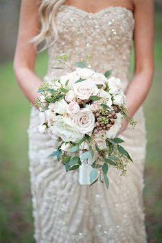 This bridal bouquet and shimmering gown are just breathtaking! Photo by: Michelle Garibay Events on Style Unveiled via Lover.ly
