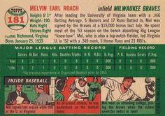 1954 Topps #181 Mel Roach Back