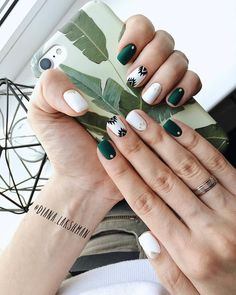 60 Must Try Nail Designs for Short Nails Short Acrylic Nails; Chic and fun Nails; Spring Nail Art, Spring Nails, Summer Nails, Fall Nails, Green Nails, White Nails, Green Nail Art, Green Art, Stylish Nails