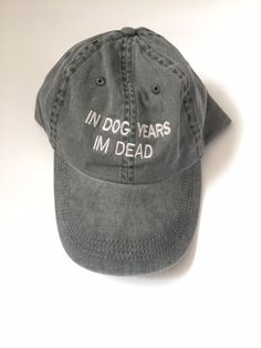 0546d61d766 in dog years im dead washed out grey cap with silver embroidery 100% cotton  tumblr